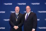CESA chair Glenn Roberts, left, with NAFEM President Kevin Fink at the Doctorate of Food Service awards
