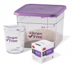 Cambro Allergen-Free Camsquares measuring cups and dissolvable labels