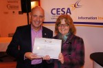 Nick Oryino, Chair of CESA presents Fiona with her CFSP certificate at Hospitality Show 2013