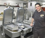 Head chef Laurent Ruben with the 15,000th VarioCooking Center