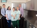 Janet Johnston, Isobel Harvey and Liz McGuire of Strathcarron Hospice with John Wannan, left, and David McPherson of Moffat