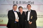 Toni Edwards, Regional Chair of LACA Wales Region, with Mike McDonald, left, and Gary Allen, right, of E & R Moffat