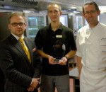 KP of the Year Bartek Malek, centre, with executive chef Simon Young, right, and Stephen Kinkead of Winterhalter