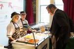 Stephen Mosley MP makes a selection from the Moffat school meals trolley